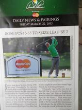 GOLF Arnold Palmer Invitational 2013 News & Pairings Leaflet Woods, Rose