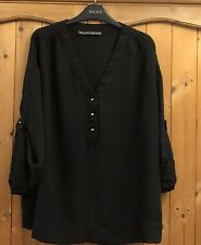 ZARA * 14 - 16 * BLACK TUNIC SHIRT BLOUSE * WIDE ROLL SLEEVES * GOLD BUTTONS