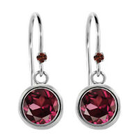 2.03 Ct Round Red Rhodolite Garnet Red Garnet 925 Sterling Silver Earrings