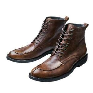 Mens Business Lace up Biker Formal Real Leather Work Ankle Boots Shoes Casual L