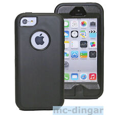 Black Hybrid Rugged Combo Silicone Rubber Hard Soft Case Cover For iPhone 5C
