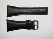 Custom Made Genuine Leather Black Watch Band Strap with Stitching Steel 34mm
