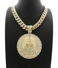 2PAC EUPHANASIA PENDANT LAB DIAMOND MIAMI CUBAN LINK CHAIN NECKLACE GOLD TUPAC