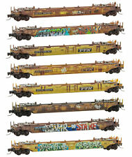 Micro-Trains Mtl Z-Scale 70ft Husky Stack Ttx Well Cars Weathered/Graffiti 8-Pk