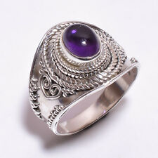 925 Sterling Silver Ring Size US 8.25, Natural Amethyst Gemstone Jewelry CR3370