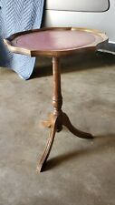Antique Elegant Small Round Side End Lamp Table with Red Leather Top Inlay