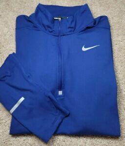 NIKE DRIFIT RUNNING-Blue Poly Cloth, Mens LS, Fitness/Running Pullover Shirt-(L)