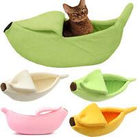 Pet Dog Cat Beds Banana Shape House Fluffy Warm Sleep Plush Soft Fleece Bed Nest