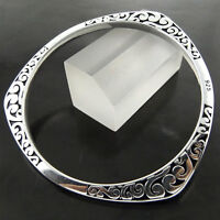 Bangle Bracelet Real 925 Sterling Silver S/F Solid Ladies Engraved Celtic Cuff