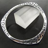 Bangle Bracelet Real 925 Sterling Silver S/F Solid Engraved Celtic Cuff Design