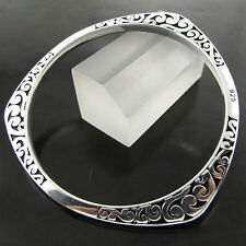 Bangle Bracelet Real 925 Sterling Silver S/F Solid Engraved Celtic Cuff Design