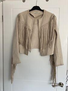 Womens Zara Beige Real Suede Tassel Jacket Size S