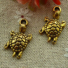free ship 200 pcs gold plated tortoise charms 23x12mm #2480