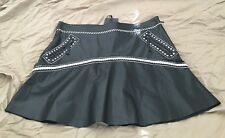 NWT Roberto Cavalli Black/White Leather Stitch Silk Short Skirt 44.      226