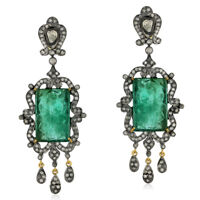 Pave Diamond Emerald Chandelier Earrings 18K Gold 925 Silver Jewelry