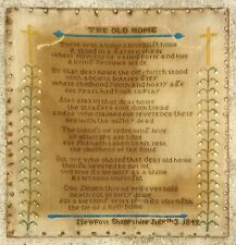 "Original 1849 Sampler ""The Old Home"" July 03 Framed Newport Shropshire England"