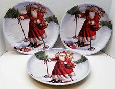 "New Set of 3 Metal Christmas Tray Round Santa Skiing Holiday Party Serving 10"""