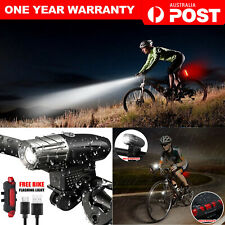 Rechargeable LED Bike Bicycle Light USB Waterproof Cycle Front Back Headlight