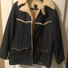 Vintage Sears Roebuck Sherpa Jean Jacket Denim Trucker Coat Mens size 42 R