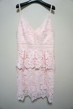TED BAKER RRP$549 Nadiie Lace Peplum Dress Sleeveless Pale Pink Ted 4 AU 14