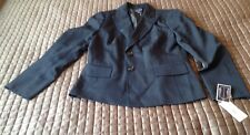 New Evan Picone Montpellier Black/Dusty Blue Pin Striped Jacket 10P   022