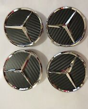 4x Mercedes-Benz Carbon emblem wheel rims hub caps hub cap 75mm Black