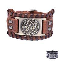 Viking Tree of Life Triple Moon Goddess Leather Bracelet for Men Vintage Jewelry