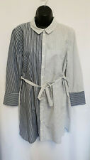 Topshop Grey & Navy Striped Waist Tie Open Back Layered Wrap Shirt Dress Size 14