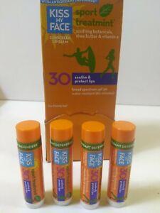 Lot Of 4 Kiss My Face Lip Balm Sport - Mint - SPF 30 -  .15 oz Each Sealed