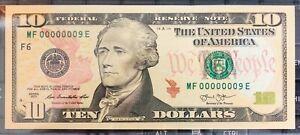 $10 Atlanta 2013 LOW SERIES NUMBER , MF00000009E. UNC, RARE