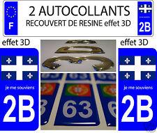 2 STICKER RECOUVERT DE RESINE PLAQUE IMMATRICULATION DEP 2B QUEBEC