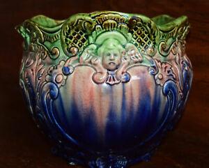 Antique Majolica Blended Glaze Jardiniere Planter McCoy Cobalt Blue Green Pink