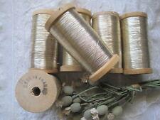1 Antique French, Gold Metal Thread Spool 3 1/4 Tall Yardage