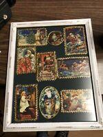 Vintage Christmas Pictures Framed in White Frame
