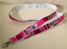 R2-KT Star Wars Hot Pink Inspired LIGHTWEIGHT Lanyard Key Chain R2D2 C-3PO Foil
