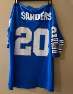 Vintage Barry Sanders #20 Detroit Lions Blue STARTER Jersey Youth L / XL