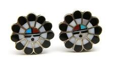 Vintage Zuni Inlay Sun-God Clip Earrings Sterling Mother Pearl Turquoise Coral