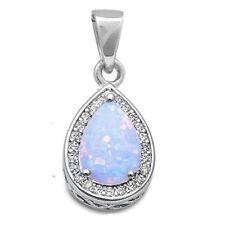 """White Opal Pear Shape Drop .925 Sterling Silver Pendant .75"""""""