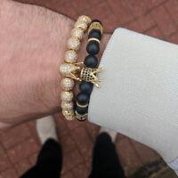 Luxury Men's Agate Gold Copper Bead Micro Pave CZ Ball Crown Macrame Bracelets