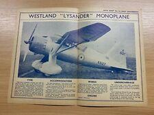 "WESTLAND ""LYSANDER"" MONOPLANE - 1930s AERO ENGINEERING #14 DATA SHEET"
