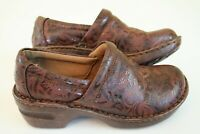 B.O.C  Brown Leather Floral Print Slip On Clogs Shoes Womens Size 6.5 M