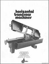 Kalamazoo Saw Division Horizontal Bandsaw Machines And 1980 Price List