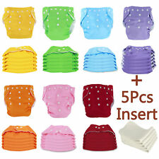 5 PCS Cloth Diapers + Inserts Nappies One Size Adjustable For Baby Newborn Kid