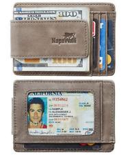 NapaWalli Genuine Leather Magnetic Front Pocket Money Clip Wallet RFID Blocking
