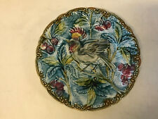 Antique Mouzin Lecat Wasmuel Majolica Pottery Plate w Bird & Cherries Decoration