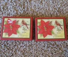Lot Lang Boxed Christmas Cards Cardinal Poinsettia Floral 21 Cards & Envelopes