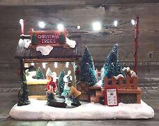 Spieluhr LED Weihnachten Weihnachtsbaumverkauf Nostalgie Winterlandschaft 25cm