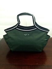 Agnes B Voyage Olive Green Nylon Tote Handbag Japan