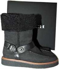 COACH Moto Shearling Boots Turnlock Harness Suede Ankle Booties Shoes 6  - 36.5