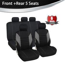 Front & Rear Full Set Bucket Seat Cover Gray/Black Fit Most Car Truck Suv Van